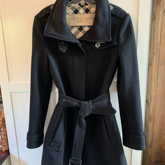 Burberry Brit wool trench coat size 6 black
